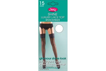 "Silky Womens/Ladies Shine Lace Stockings (1 Pair) (White) (Medium (5ft-5ft8""))"