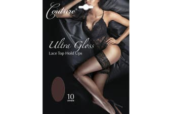 Couture Womens/Ladies Ultra Gloss Lace Top Hold Ups (1 Pair) (Barely Black) - UTLW393