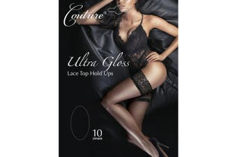 Couture Womens/Ladies Ultra Gloss Lace Top Hold Ups (1 Pair) (Black) - UTLW393
