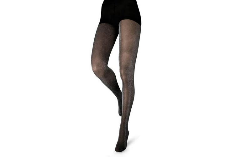 Couture Womens/Ladies Glitter Opaque Tights (1 pair) (Black) (42 - 48 Inch)