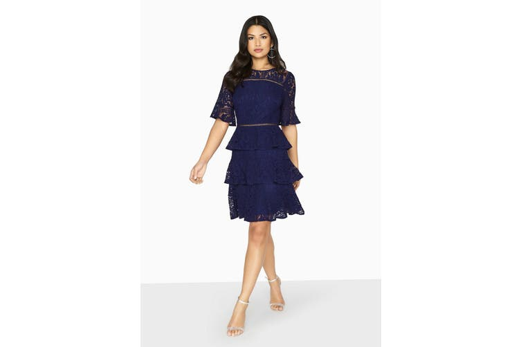 Girls On Film Womens/Ladies Bibi Tiered Lace Shift Dress (Navy) (14 UK)