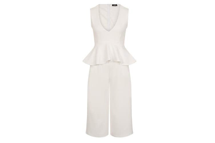 Girls On Film Womens/Ladies Jamal Peplum Plunge Jumpsuit (White) (10 UK)