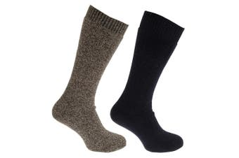 Mens Thermal Wool Blend Long Length Socks (Pack Of 2) (Navy/Khaki Marl) (UK 6-11 (Euro 39-45))