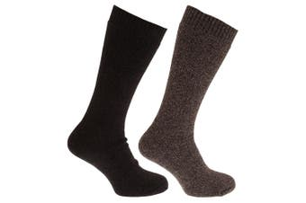 Mens Thermal Wool Blend Long Length Socks (Pack Of 2) (Shades of Brown) (UK 6-11 (Euro 39-45))