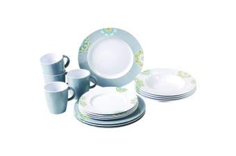 Sandhya Patterned 16 Piece Dinner Set (White/Grey) (One Size)