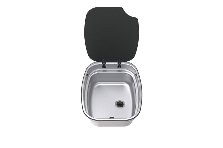 Thetford Camping Sink Bowl with Lid (Silver/Black) (One Size)