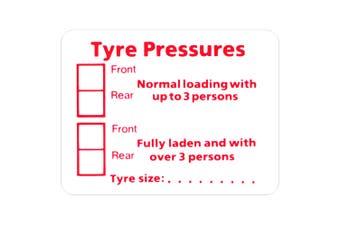 W4 Tyre Pressures Sticker (Red/White) (One Size)