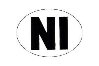 W4 Large Oval NI Sticker (White/Black) (One Size)