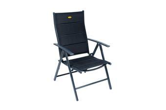 Camp 4 Ischia Mega Comfort XL Dark Frame Reclining Camping Chair (Black) (One Size)