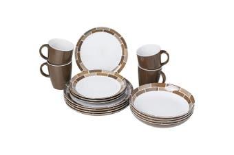 Brunner Lunch Box Melamine Dinnerware Set (16 Pieces) (Chocolate) (One Size)
