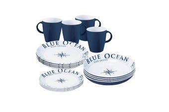 Brunner Lunch Box Melamine Dinnerware Set (16 Pieces) (Blue Ocean) (One Size)