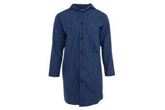 Harvey James Mens Woven Nightshirt (Dark Blue)