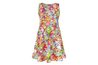 Shopkins Childrens/Girls Official All-Over Character Printed Skater Dress (Multicoloured)