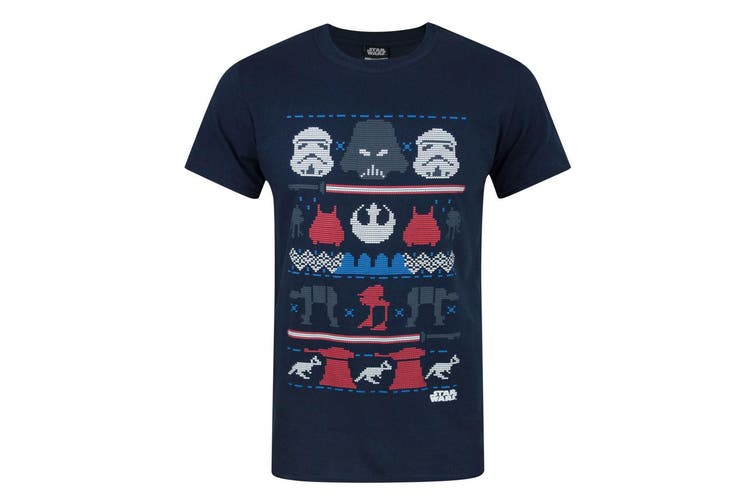Star Wars Mens Dark Side Fair Isle Christmas T-Shirt (Blue) (M)