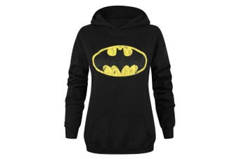 Batman Womens/Ladies Distressed Logo Hoodie (Black)