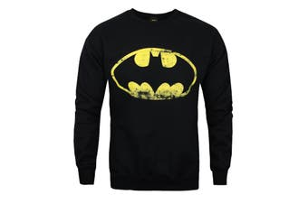 Batman Official Mens Distressed Logo Sweatshirt (Black)