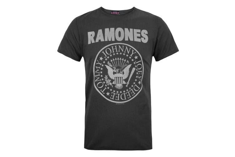 Amplified Official Mens Ramones Logo T-Shirt (Charcoal) (2XL)