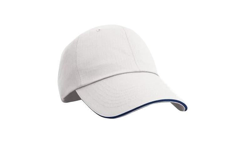 Result Unisex Herringbone Contrast Colour Sandwich Peak Baseball Cap (White/Navy) (One size)