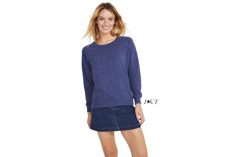 SOLS Womens/Ladies Studio French Terry Raglan Long Sleeve Sweatshirt (Heather Indigo) (XXL)
