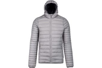 Kariban Mens Lightweight Hooded Down Jacket (Marl Silver) (XL)