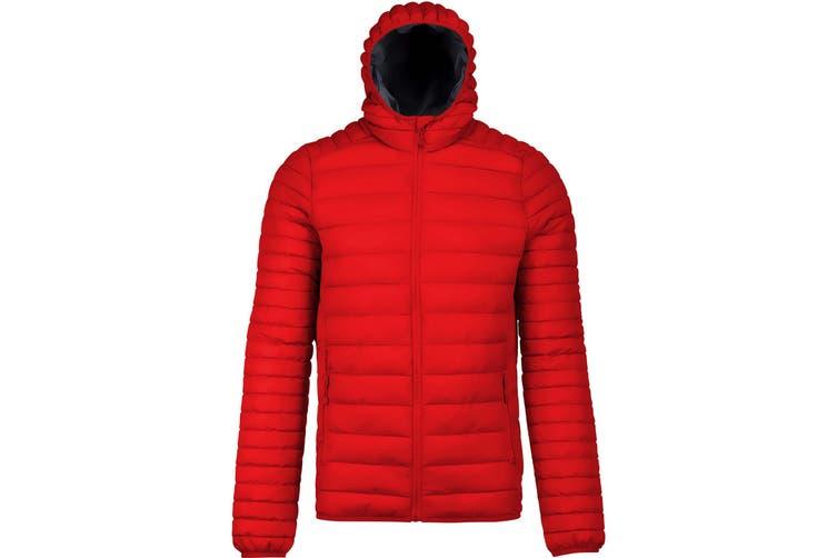 Kariban Mens Lightweight Hooded Down Jacket (Red) (M)