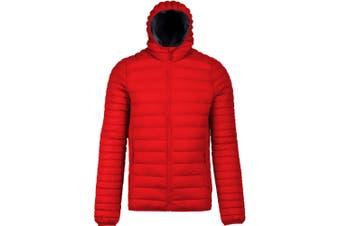 Kariban Mens Lightweight Hooded Down Jacket (Red) (S)