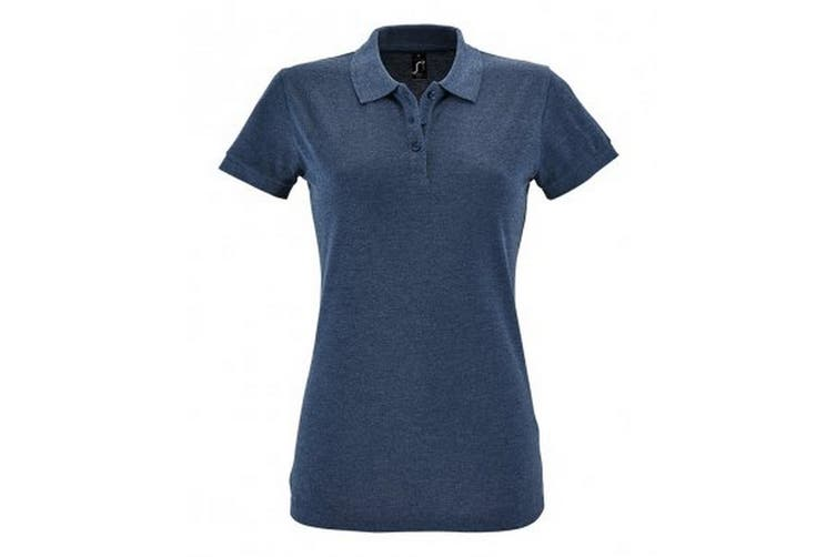 SOLS Womens/Ladies Perfect Pique Short Sleeve Polo Shirt (Heather Denim) (M)