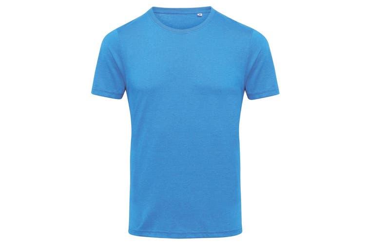 AWDis Mens Tri Blend T Shirt (Heather Sapphire) (Large)