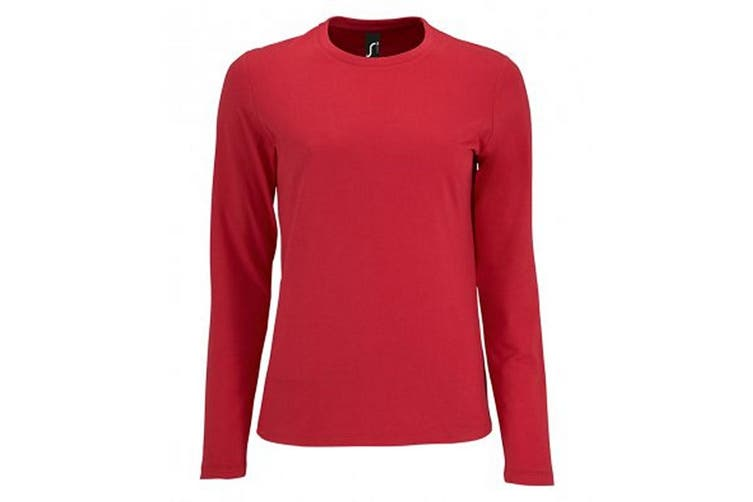 SOLS Womens/Ladies Imperial Long Sleeve T-Shirt (Red) (L)