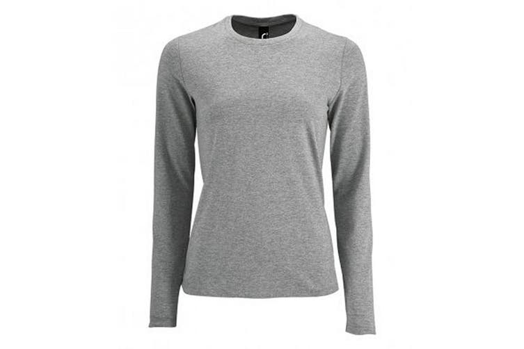 SOLS Womens/Ladies Imperial Long Sleeve T-Shirt (Grey Marl) (XL)
