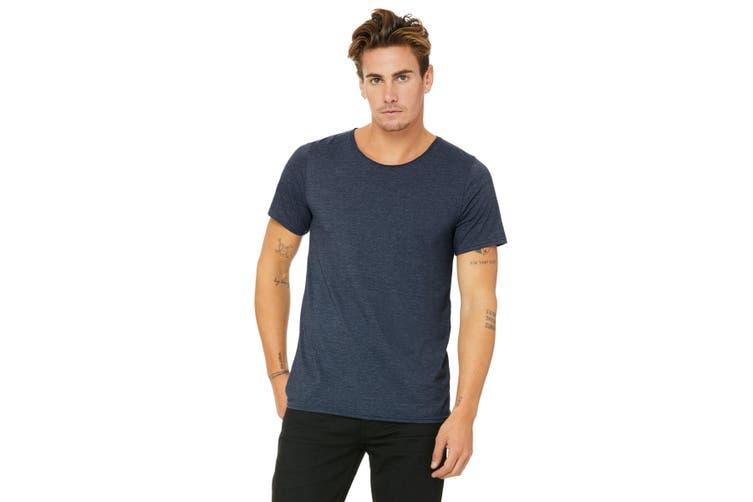 Bella + Canvas Unisex Raw Neck T-Shirt (Heather Navy) (S)