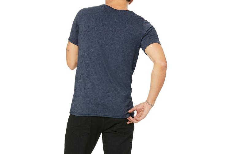 Bella + Canvas Unisex Raw Neck T-Shirt (Heather Navy) (XL)