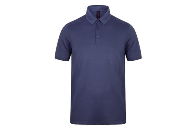 Henbury Mens Stretch Microfine Pique Polo Shirt (Navy) (S)