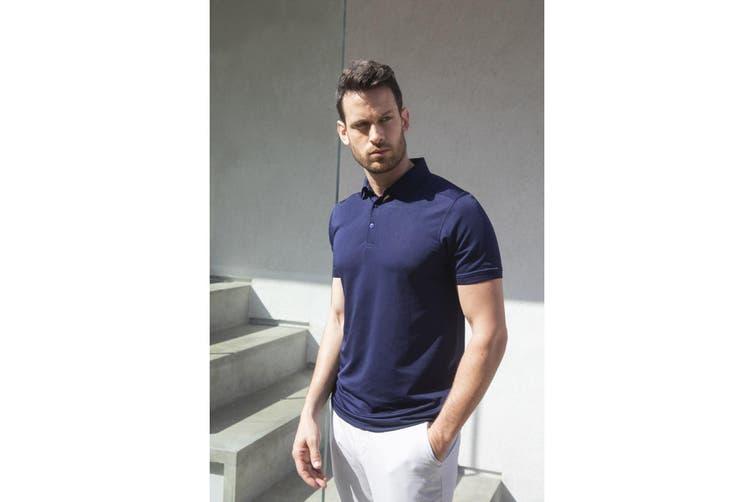 Henbury Mens Stretch Microfine Pique Polo Shirt (Navy) (XL)