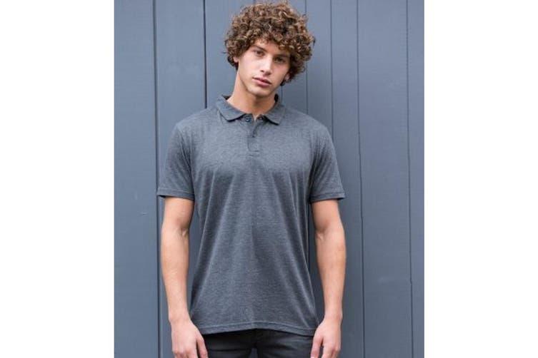 AWDis Mens Tri-Blend Polo Shirt (Heather Charcoal) (XXL)