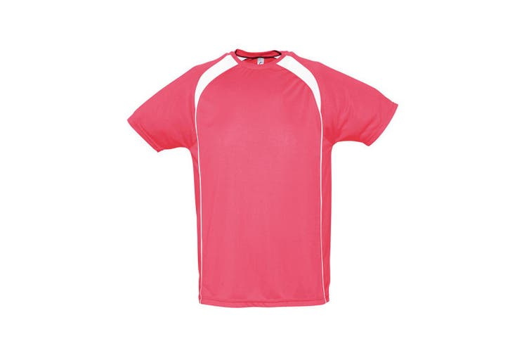 SOLS Mens Match Contrast Short Sleeve Performance T-Shirt (Neon Coral/White) (S)
