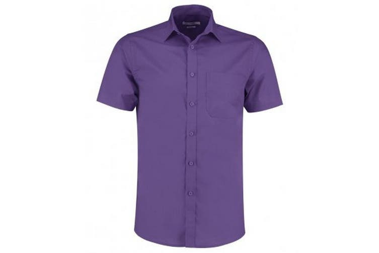 Kustom Kit Mens Short Sleeve Tailored Poplin Shirt (Purple) (14.5)