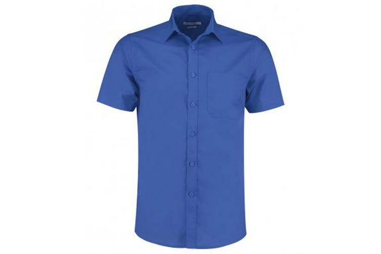 Kustom Kit Mens Short Sleeve Tailored Poplin Shirt (Royal) (19.5)