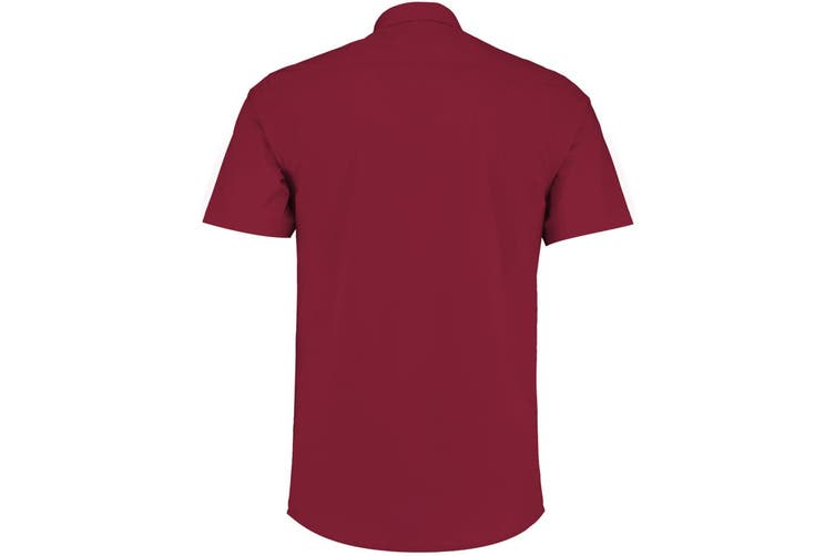 Kustom Kit Mens Short Sleeve Tailored Poplin Shirt (Claret) (15.5)