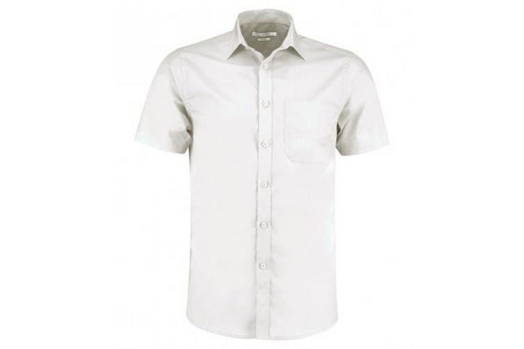 Kustom Kit Mens Short Sleeve Tailored Poplin Shirt (White) (18)