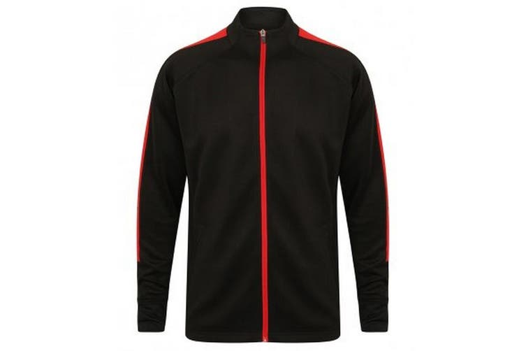 Finden & Hales Childrens/Kids Boys Knitted Tracksuit Top (Black/Red) (13 Years)
