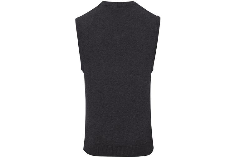 Premier Mens Sleeveless Cotton Acrylic V Neck Sweater (Charcoal) (S)
