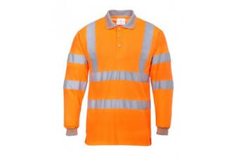Portwest Mens Hi-Vis Long Sleeve Polo Shirt (Orange) (XL)