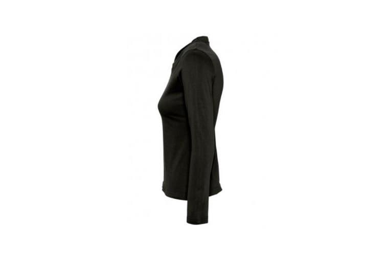SOLS Womens/Ladies Majestic Long Sleeve T-Shirt (Deep Black) (M)