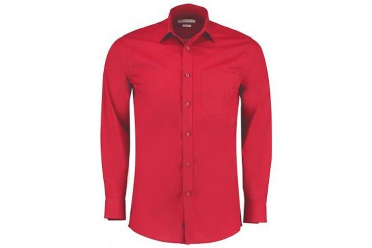 Kustom Kit Mens Long Sleeve Tailored Poplin Shirt (Red) (23)