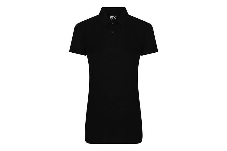 PRO RTX Womens/Ladies Pro Polyester Polo Shirt (Black) (XL)