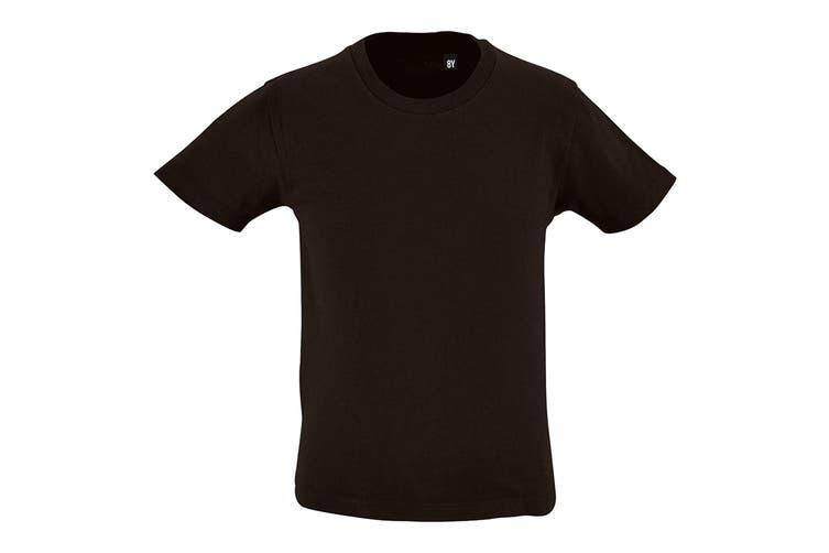 SOLS Childrens Kids Milo Organic T-Shirt (Deep Black) (6 Years)