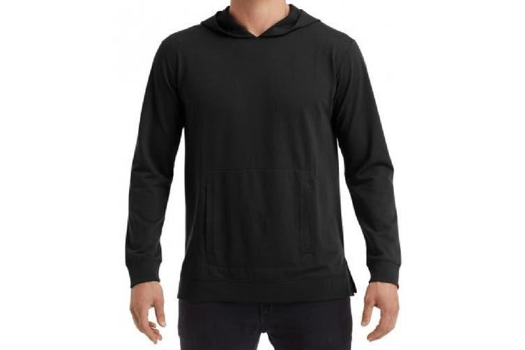 Anvil Unisex Adults Lightweight Terry Hooded Sweatshirt (Black) (S)