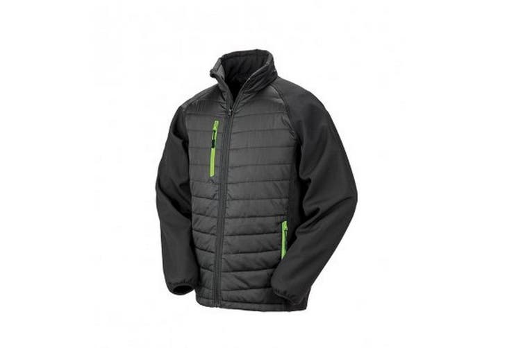 Result Mens Black Compass Padded Soft Shell Jacket (Black/Lime) (2XL)