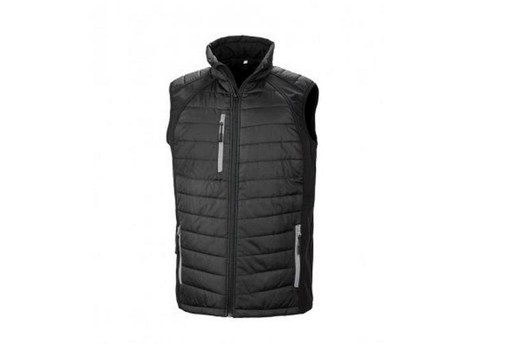 Result Mens Black Compass Padded Soft Shell Gilet (Black/Grey) (S)